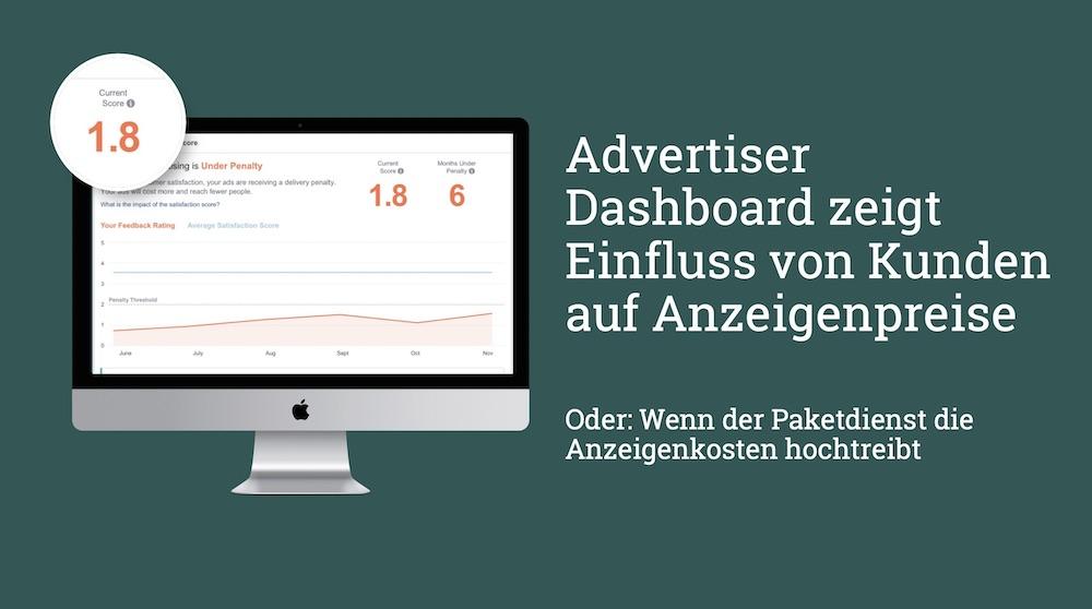 Im Rollout: Advertiser Dashboard zeigt Einfluss von Kundenfeedback auf Anzeigenpreise