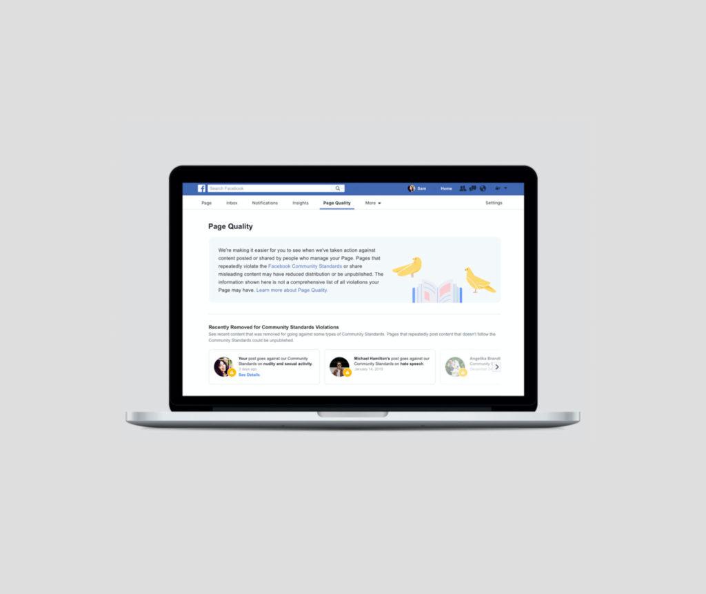 """Neues """"Page Quality"""" Tab auf allen Facebook Seiten: für euch (hoffentlich) irrelevant."""