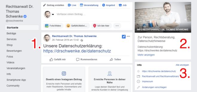 Möglichkeiten des Datenschutzhinweises auf einer Facebooks-Fanpage.