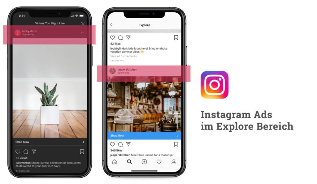 Neu: Anzeigen im Instagram Explore Bereich. Details zur Buchung.