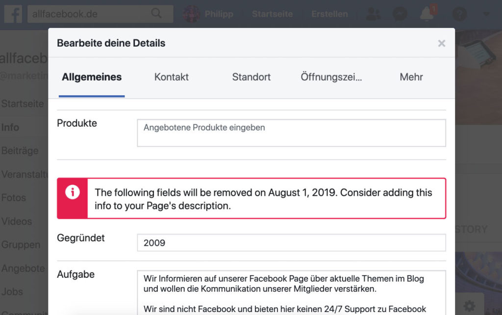 Reminder: zum 01. August werden diese Infofelder von Seiten entfernt