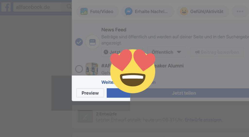 Neu: Desktop & Mobile Vorschau für normale Seiten-Posts